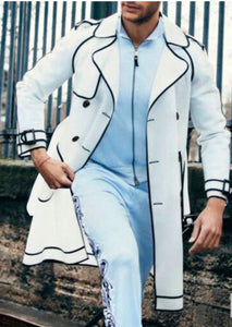 Wool Double Breasted Topcoat - White with Black Piping