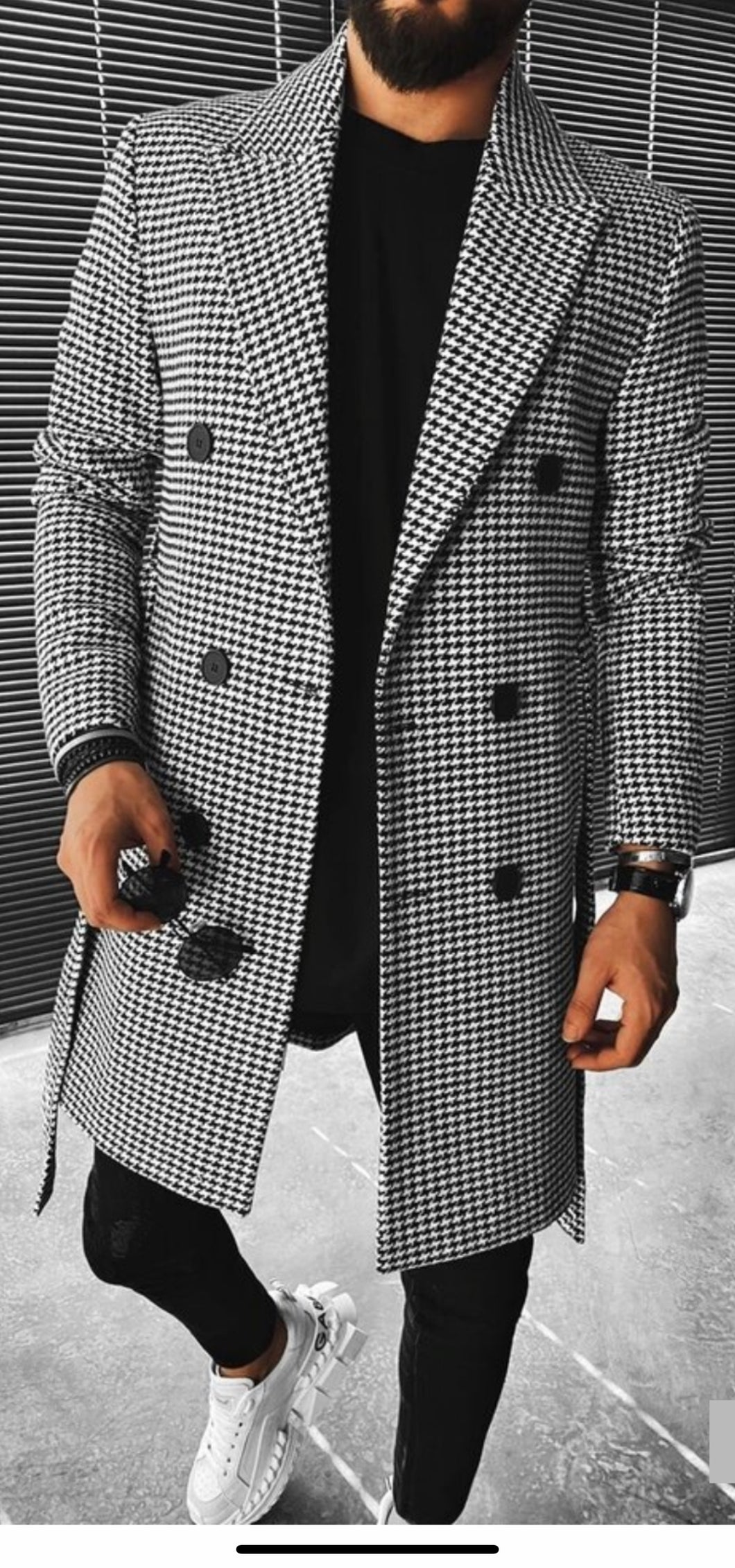 Wool Double Breasted Topcoat - Black / White