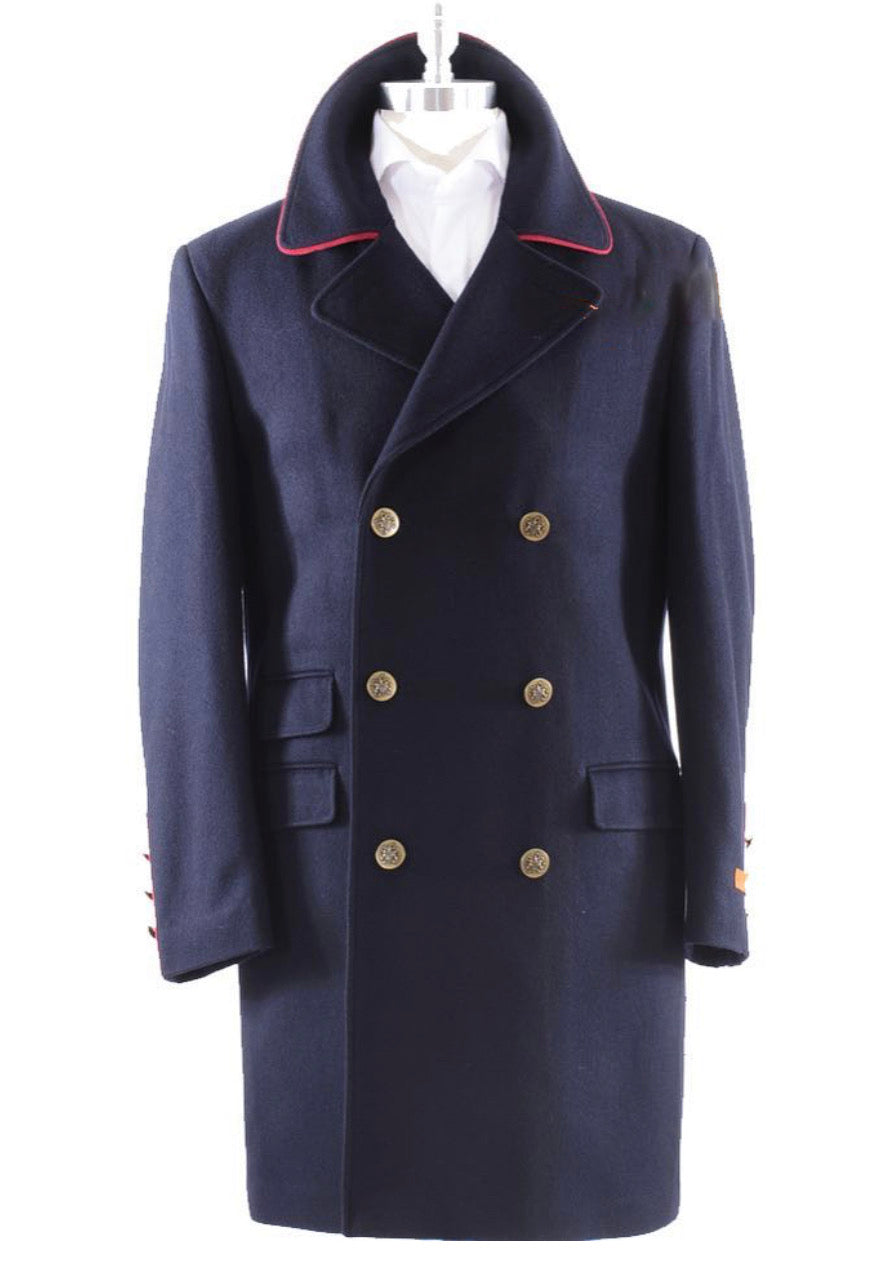 Wool Double Breasted Red Line Topcoat - Blue