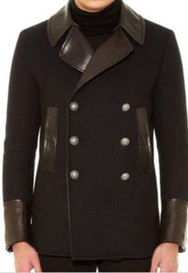 Men's Double Breasted Maroon Fur Peacoat