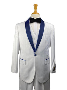 32-C-TUX-SHAWL	WHITE-NAVY -  Tuxedo Wholesale  Distributors