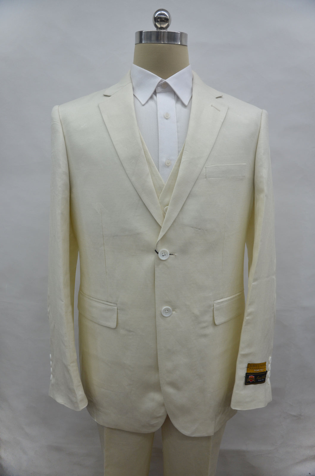 Mens White Linen Suit - White Linen Wedding Suit - Off White