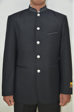 Mandarin Suit - Black Diamond