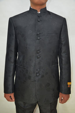 Mens Clergy Suits - Black Paisley