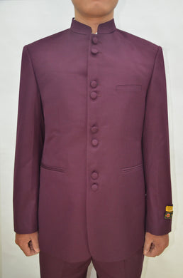 Mandarin Suit - Burgundy
