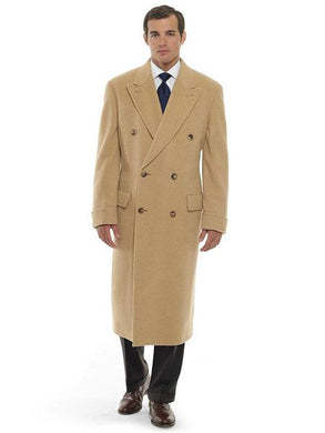 Mens Dress Coat 44 Inch Long Length Camel ~ Khaki ~ Beige ~ Tan Double Breasted Wool Blend Overcoat