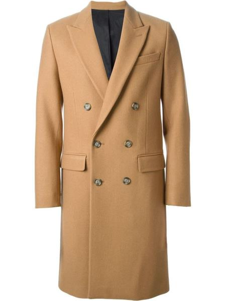 Mens Camel~Khaki 44Inch Long Double Breasted Overcoat Winter Mens Topcoat Sale - Wholesale Coat - Wholesale Winter Coats