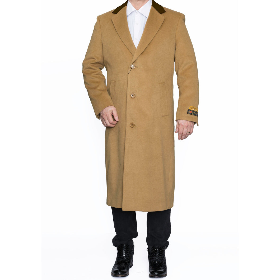 Mens Full Length 3 Button Wool Overcoat in Camel with Brown Velvet Collar