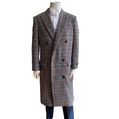 Mens Full Length Wool Double Breasted Overcoat Grey Plaid
