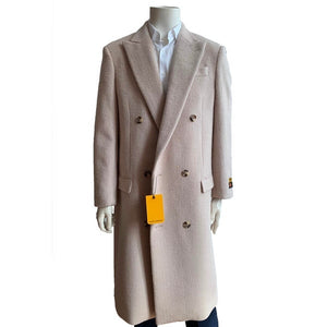 Mens Full Length Wool Double Breasted Overcoat in Beige