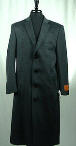 Men's Wool Blend 4 Button Bravo Top Overcoat Charcoal Grey