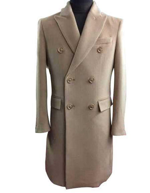 Men's Winter Wool Double Breasted Long Overcoat Beige ~ Camel Full Length Or Three Quarter Winter Mens Topcoat Sale