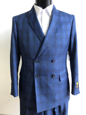 Slim Fit Prom Suits  - DB-Slim Indigo Plaid