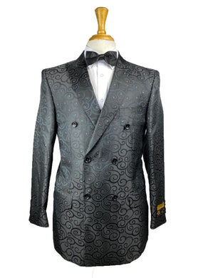 DB-Blazer Black Paisley - Mens Wholesale Suit - AlbertoNardoniStore