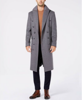 Men's Double Breasted Solid Military Wool Blend Overcoat Grey