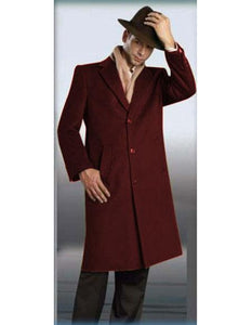 "Mens Wool Trench coat - ""Red"" Color Mens Overcoat"