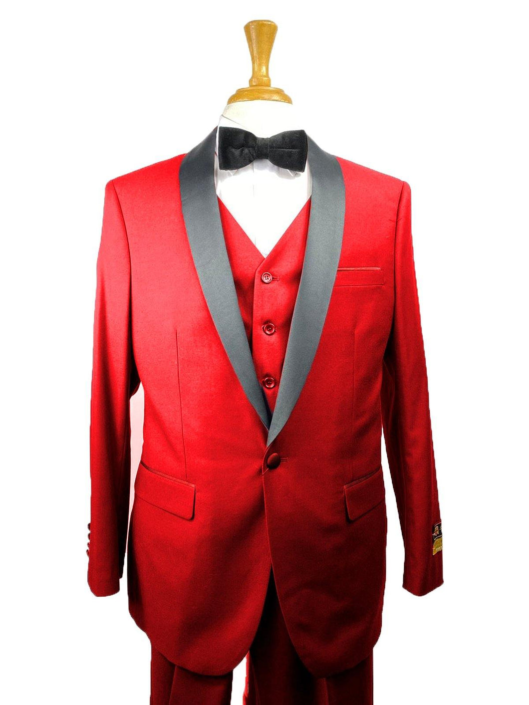 33-C-TUX-SHAWL	RED-BLK -  Tuxedo Wholesale  Distributors - AlbertoNardoniStore