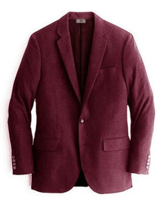 Mens Burgundy Two Buttons Cashmere & Wool Blazer