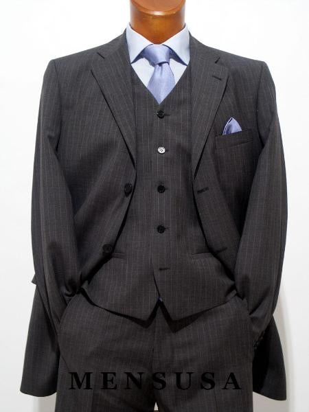 Plus Size Business Suits Charcoal.Pinstripe