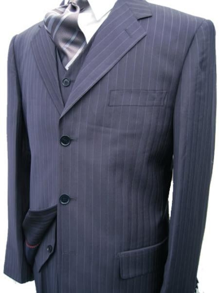 Plus Size Mens Suits - Plus Size Business Suits Navy.Pinstripe