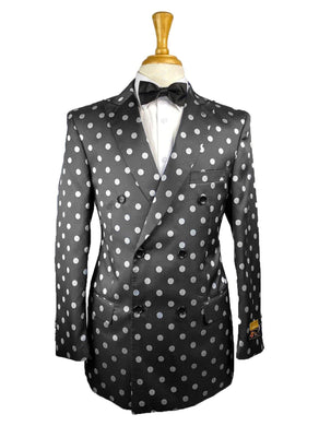 DB-Blazer Black-White-Dots - Mens Wholesale Suit - AlbertoNardoniStore