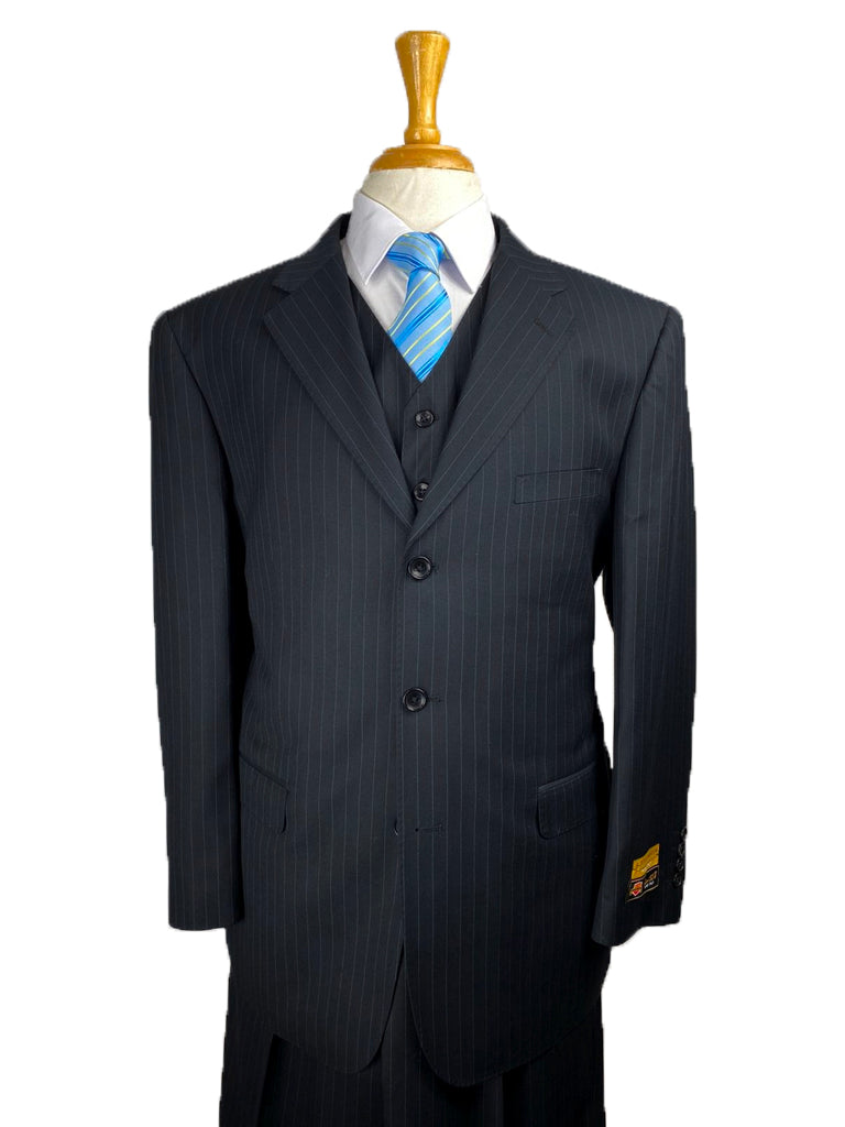 Suits For Big Guys - Suits For Big men Black-Pinstripe