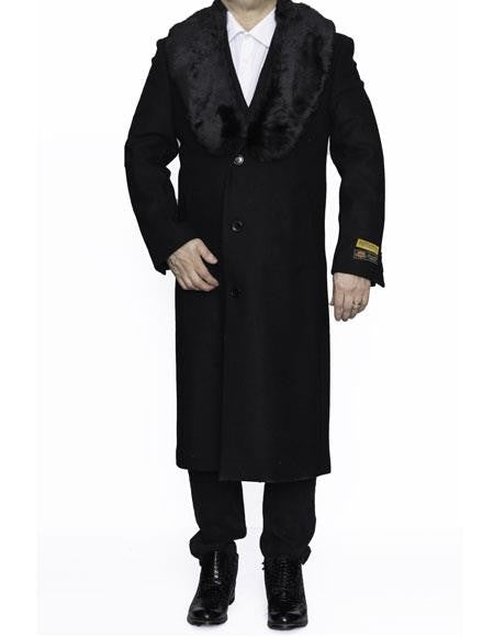 Moscow: BLACK FULL LENGTH REMOVABLE FUR COLLAR - MENS TOPCOAT / OVERCOAT