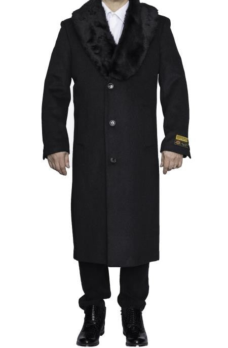 Moscow: MENS CHARCOAL GREY REMOVABLE FUR COLLAR FULL LENGTH WOOL - MENS TOPCOAT / OVERCOAT