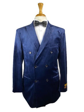 DB-Blazer Navy Velvet Solid - Mens Wholesale Suit - AlbertoNardoniStore