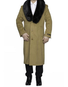 Moscow: CAMEL FULL LENGTH REMOVABLE FUR COLLAR TOP COAT / OVERCOAT