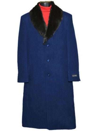 Moscow: MEN'S FUR COLLAR NAVY BLUE 3 BUTTON SINGLE BREASTED WOOL FULL LENGTH OVERCOAT