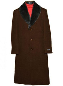 Moscow: MEN'S FUR COLLAR DARK BROWN 3 BUTTON SINGLE BREASTED WOOL FULL LENGTH OVERCOAT