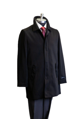 Men's Black Raincoat 3/4 Length