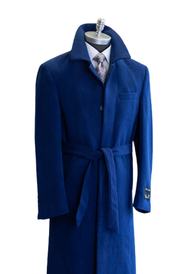 Full Length Overcoat - Wool Belted Topcoat Aero Blue