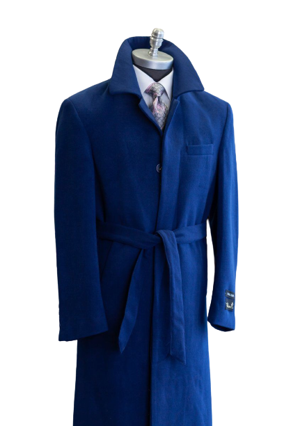 Full Length Overcoat - Wool Belted Topcoat Aero Blue - Wholesale Coat - Wholesale Winter Coats - AlbertoNardoniStore