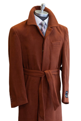 Full Length Overcoat - Wool Belted Topcoat Aero Rust