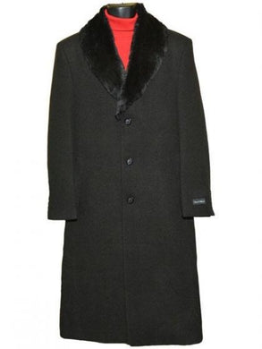 Moscow: BLACK WOOL COAT WITH FUR COLLAR 3 BUTTON SINGLE BREASTED FULL LENGTH OVERCOAT
