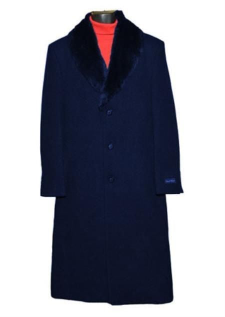 Moscow: SINGLE BREASTED DARK BLUE FUR COLLAR 3 BUTTON FULL LENGTH OVERCOAT