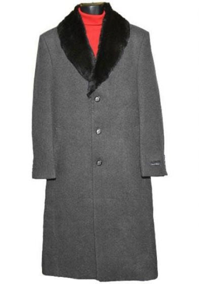 Moscow: MEN'S FUR COLLAR CHARCOAL GREY 3 BUTTON SINGLE BREASTED WOOL FULL LENGTH OVERCOAT