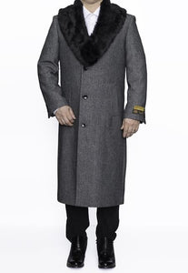 Moscow: MENS GREY TOPCOAT REMOVABLE FUR COLLAR FULL LENGTH WOOL HERRINGBONE OVERCOAT