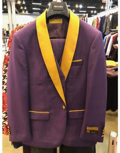 Purple And Gold Tuxedo Vested 3 Piece Suit - AlbertoNardoniStore