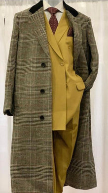 Men's Black And Grey Plaid Checkered Chesterfield Overcoat Top Coat Full Length Wool And Cashmere Gray Checker