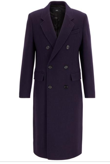 Mens Fashion Show Capsule Coat Alberto Nardoni Mens Double Breasted Wool Overcoat ~ Long Mens Dress Topcoat - Winter Coat Dark Purple