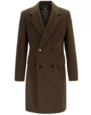 Mens Fashion Show Capsule Coat Alberto Nardoni Mens Double Breasted Wool Overcoat ~ Long Mens Dress Topcoat - Winter Coat Green