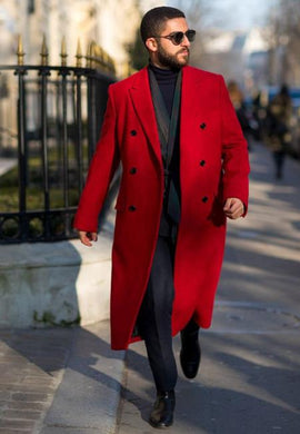 Mens Red Overcoat Double Breasted Style Wool And Cashmere Fabric