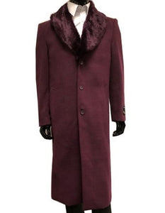 Moscow: MENS WOOL CASHMERE OVERCOAT WITH FUR COLLAR FULL LENGTH