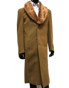 Moscow: MENS WOOL CASHMERE OVERCOAT WITH FUR COLLAR 48 INCHES CAMEL
