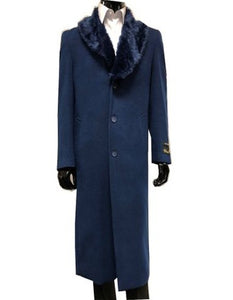 Moscow: MENS WOOL CASHMERE OVERCOAT WITH FUR COLLAR FULL LENGTH BLUE