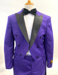 1920s Mens Fashion Tailcoat Tuxedo Morning Suit Tux Color Wool Fabric - Purple Tailcoat