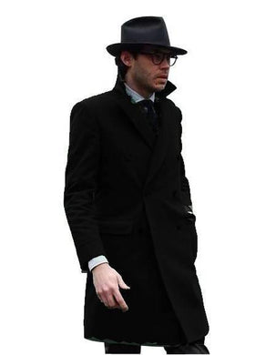 Double Breasted - Three Quarter Coat - Cashmere And Wool Topcoat + Style# Manhattan Black - AlbertoNardoniStore